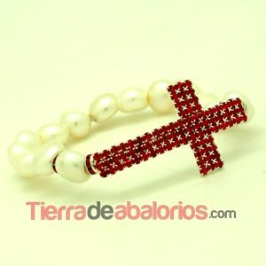 Pulsera Perlas Cultivadas y Cruz con Strass Light Siam