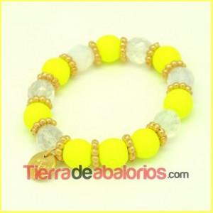 Pulsera con Cristal Neón Amarillo