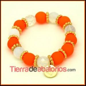 Pulsera con Cristal Neón Naranja