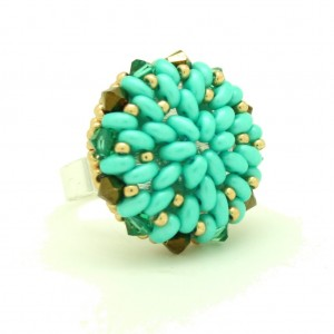 Anillo con Twin Beads Verde Pastel Mate