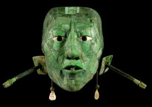 Máscara en jade del rey Pakal, gobernante de Palenque. Museo Nacional de Antropología e Historia, México.