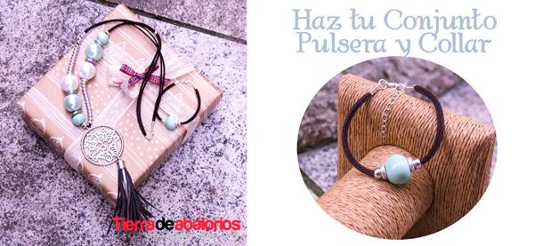 Conjunto Collar y Pulsera Ante, Zamak y Flecos