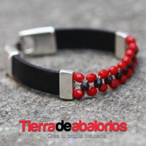 Pulsera Vaquetilla Negra y Facetadas Rojas
