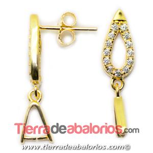 Pendiente Gota 16x6mm con Circonitas, Plata de Ley Baño Oro