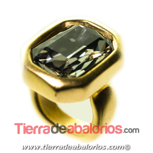 Anillo Ajustable Octogonal 24x19mm, Dorado Matizado