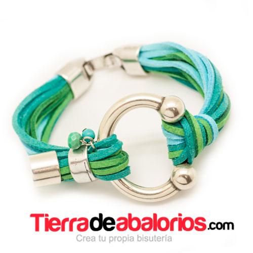 Pulsera con Ante Multicolor y Herradura Baño Plata