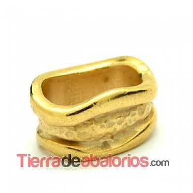 Entrepieza Regaliz Irregular 15x8mm Agujero 10x7mm Dorada