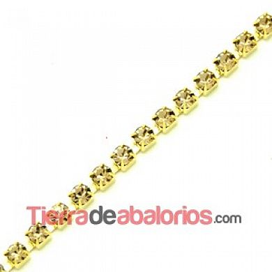 Cadena Dorada con Swarovski SS20 Light Colorado Topaz
