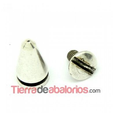 Remache Conico con Tornillo de 13x7mm, Plateado