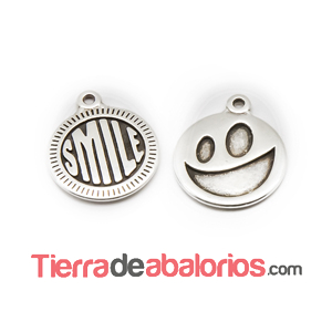 Medalla 15mm Smile, Plateada