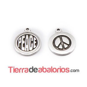 Medalla 15mm Peace, Plateada