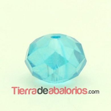 Bola Rondel Facetada 10x8mm Agujero 1,5mm Aquamarine AB