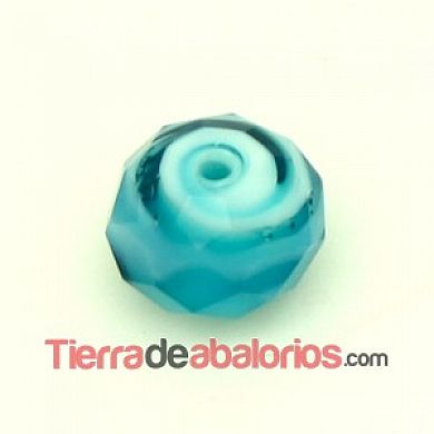Bola Briolette 12x9mm Agujero 1,5mm Aquamarine y Blanco