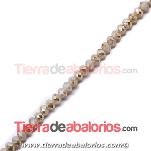 Bola Rondel 8x6mm Agujero 1,5mm White Opal/Golden Shadow