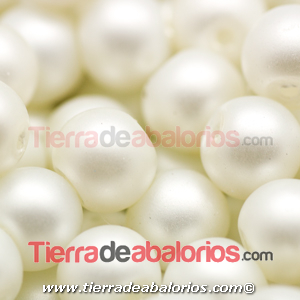 Perla de Cristal Checo 4mm, Blanco Mate