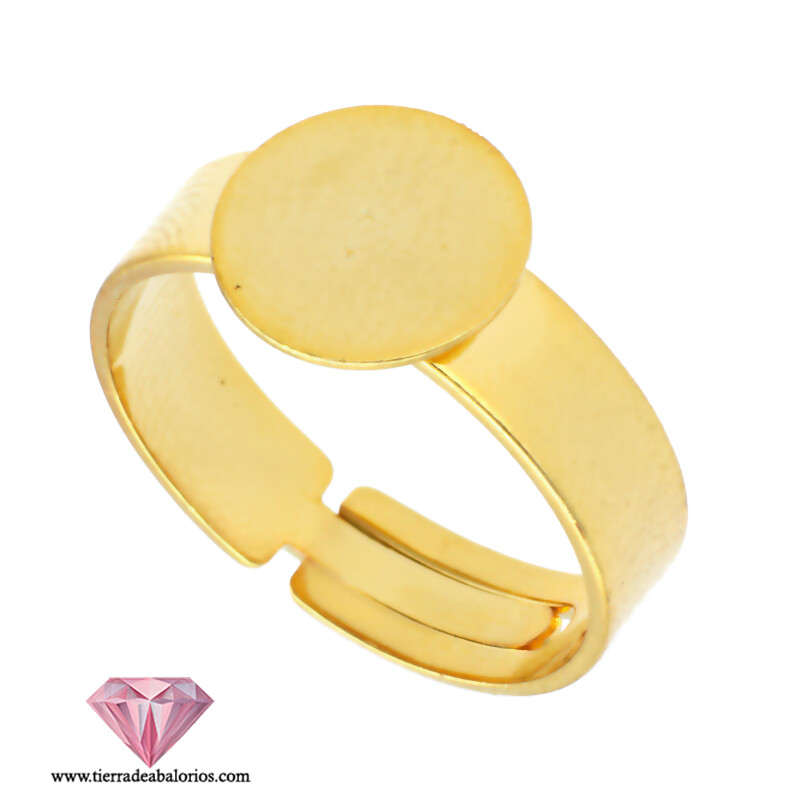 Anillo Ajustable Base Plana Redonda 12mm Dorado