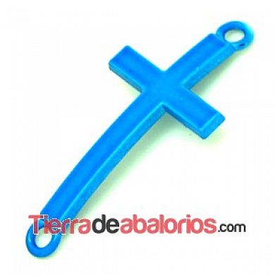 Conector Cruz Curvada 37x17mm, Azul Luminoso