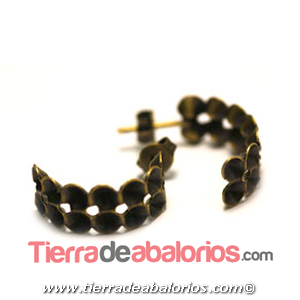 Pendiente Media Aro para Chatones 18x8mm, Oro Viejo