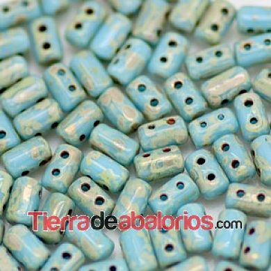 Rulla Bead 5x3mm Opaque Turquoise Blue Picasso