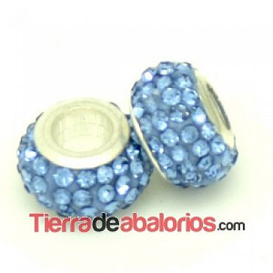 Bola Rondel con Casquilla 12x8mm Agujero 4mm Light Sapphire