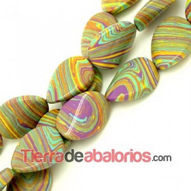 Turquesa Twist Oval 25x18mm Agujero 1,5mm Multicolor