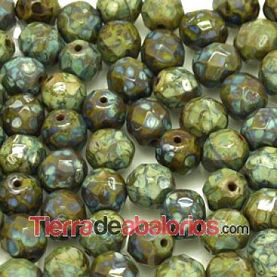 Facetada 8mm Opaque Dark Olivine Picasso