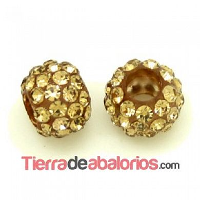 Bola Shamballa 12x9mm Agujero 5mm, Light Colorado Topaz