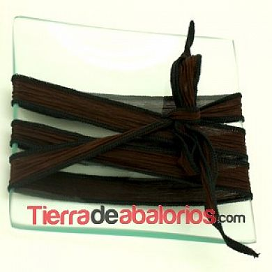 Seda Ribeteada Teñida a Mano 17mm Marrón Chocolate