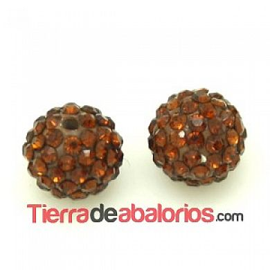 Bola Shamballa 10mm Agujero 1mm Smoked Topaz