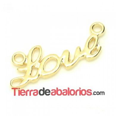 Colgante Love 28x10mm con 2 anillas Agujero 2mm Dorado