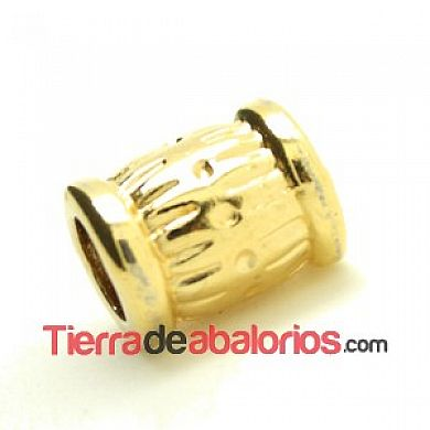 Barril 10x9mm Agujero 5mm Dorado