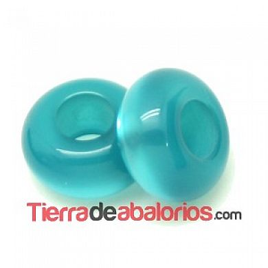 Resina Rondel 12x6mm Agujero 5mm Blue Zircon