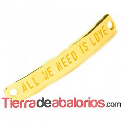 Entrepieza Curvada 40x7mm - All We Need Is Love - Dorada