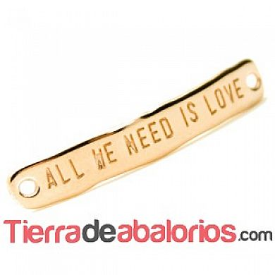 Entrepieza Curvada 40x7mm - All We Need Is Love - Oro Rosa