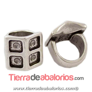 Anillo Ajustable de Zamak Casita 24x24mm, Plateado