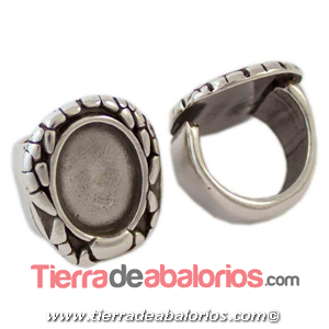 Anillo Ajustable de Zamak Escarabajo 27x23mm, Plateado
