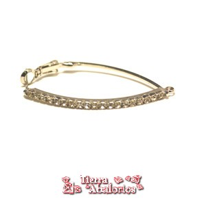 Pendiente con Strass, Largo 40mm, Plateado