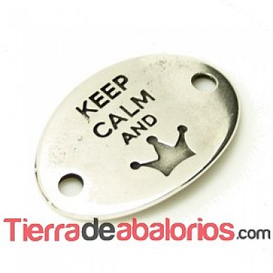 Entrepieza Oval 28x20mm Keep Calm And -Queen- Plateada