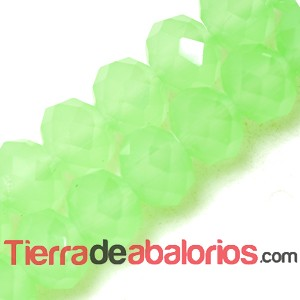 Briolette Facetada 8x6mm Agujero 1,5mm Verde Claro