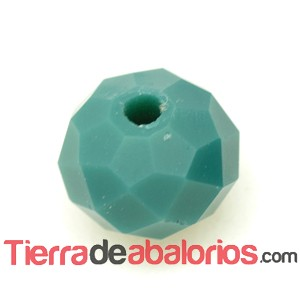 Briolette Facetada 8x6mm Agujero 1,5mm Verde Musgo