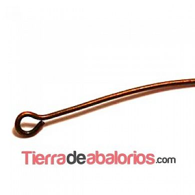 Baston con anilla 30mm Grosor 0,7mm, Cobre (100 uds)