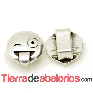 Emoticono 10mm Agujero 6x2mm Burlón, Plateado
