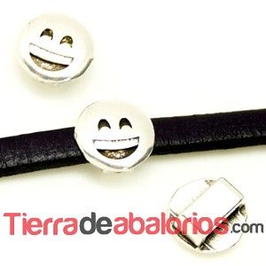 Emoticono 10mm Agujero 6x2mm Sonrisas, Plateado