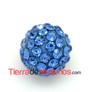 Bola Shamballa 10mm Agujero 1mm Light Sapphire