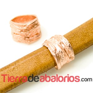 Entrepieza Regaliz Irregular 14x11mm Agujero 10x7mm Oro Rosa