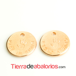Medalla 13mm Hecho a Mano - Made In Spain, Oro Rosa