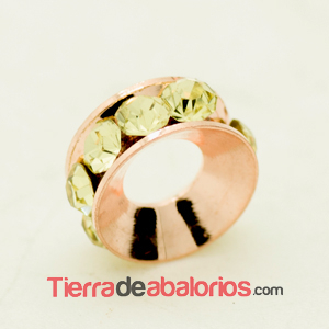 Rondel Oro Rosa con Strass 10mm Agujero 4,2mm Jonquil