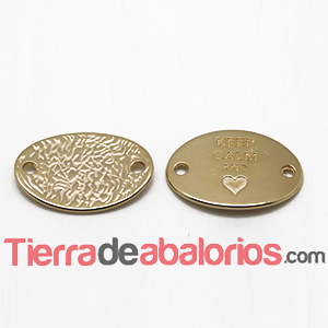 Entrepieza Oval 28x20mm Keep Calm and -Heart- Dorada