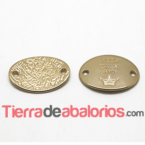 Entrepieza Oval 28x20mm Keep Calm And -Queen- Dorada