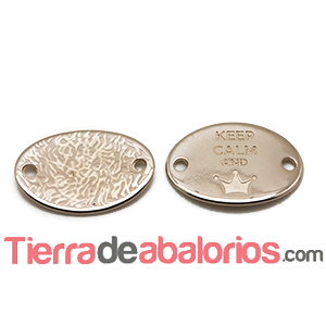 Entrepieza Oval 28x20mm Keep Calm And -Queen- Oro Rosa